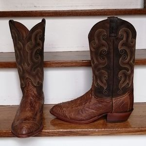 TONY LAMA Ostrich Leather Boots Size 10.5